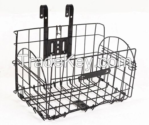 Metal bicycle basket, CP,UCP, painted with strong metal wire, front/rear with folding