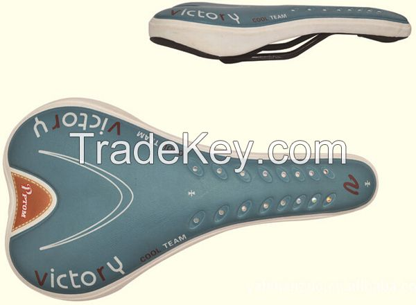 Bicycle saddle, PVC cover, steel frame and springs with holding screw