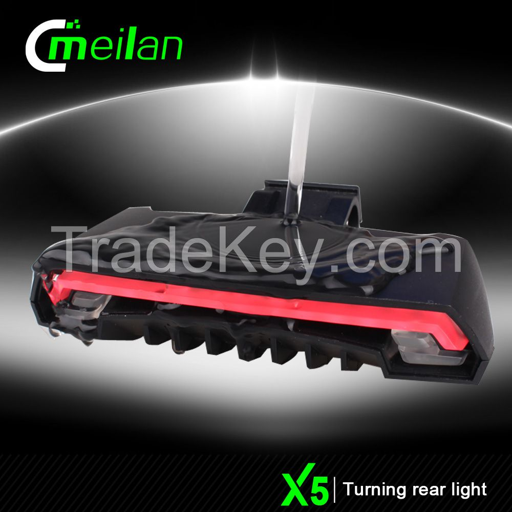 Meilan X5 Wireless Remote Control LED Bicycle Light with Laser USB Rechargeable