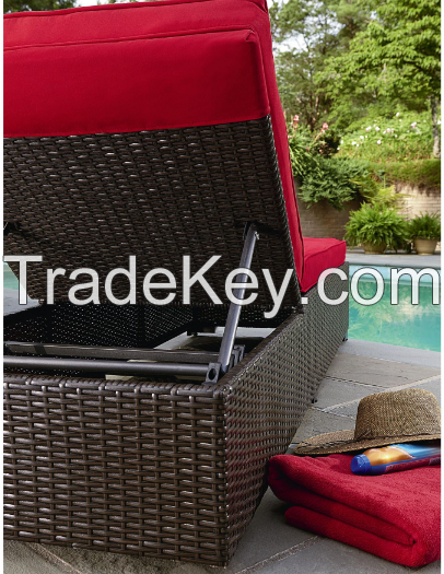 Outdoor Patio Furniture Wicker Adjustable Chaise Lounge Bed