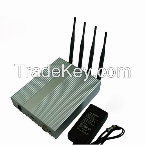 4 Antenna Cell Phone Signal Blocker with Remote Control Jammer