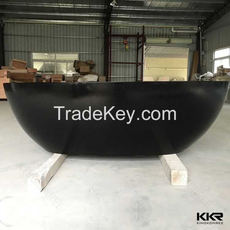 Artificial stone bowl shape solid surface acrylic bathtub freestanding