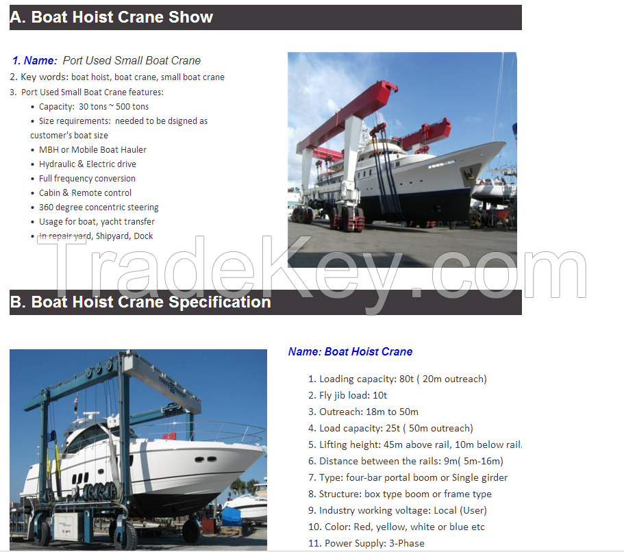 Hot Sale Boat Lifting Gantry Crane