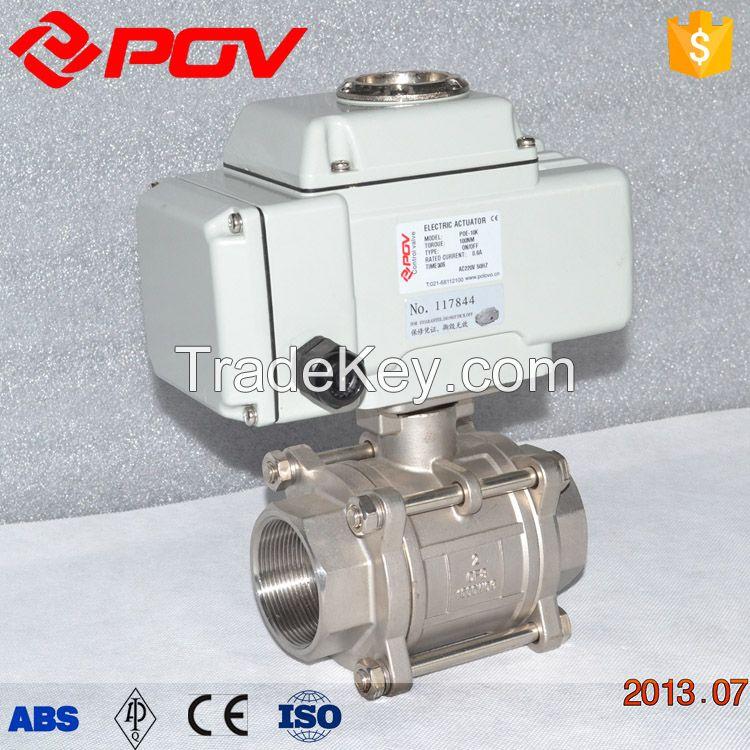 hot sale 3 piece thread 1000 wog stainless steel motorized ball valve
