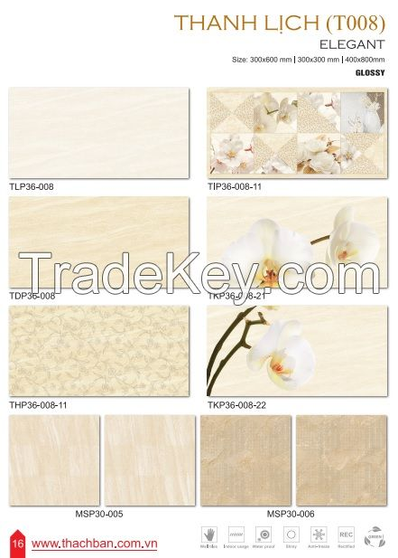 CERAMIC WALL TILES - ELEGANT T008 By THACH BAN GROUP JSC, Vietnam