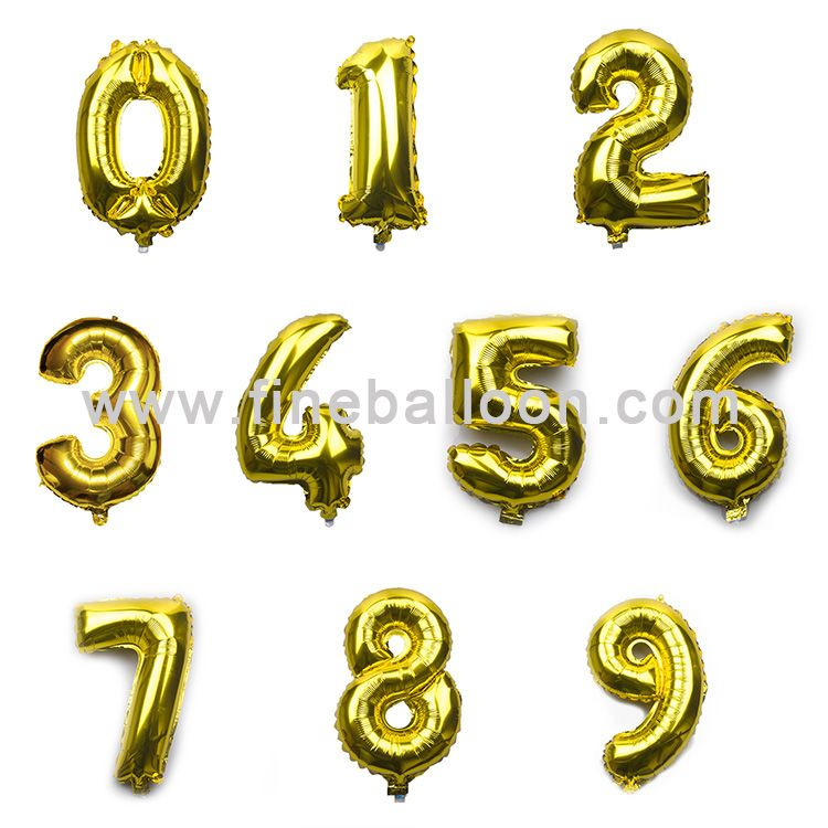 2017 new design happy birthday party decorations number shape helium foil balloons