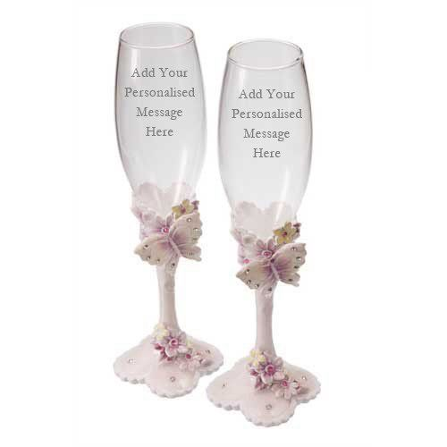 Engraved Champagne Flutes with Butterflies in Box