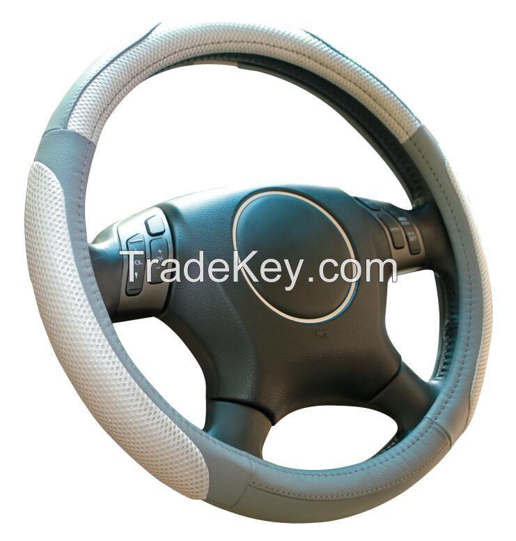 Black beige orange genuine leather and mesh Car steering wheel cover universal 15 inch