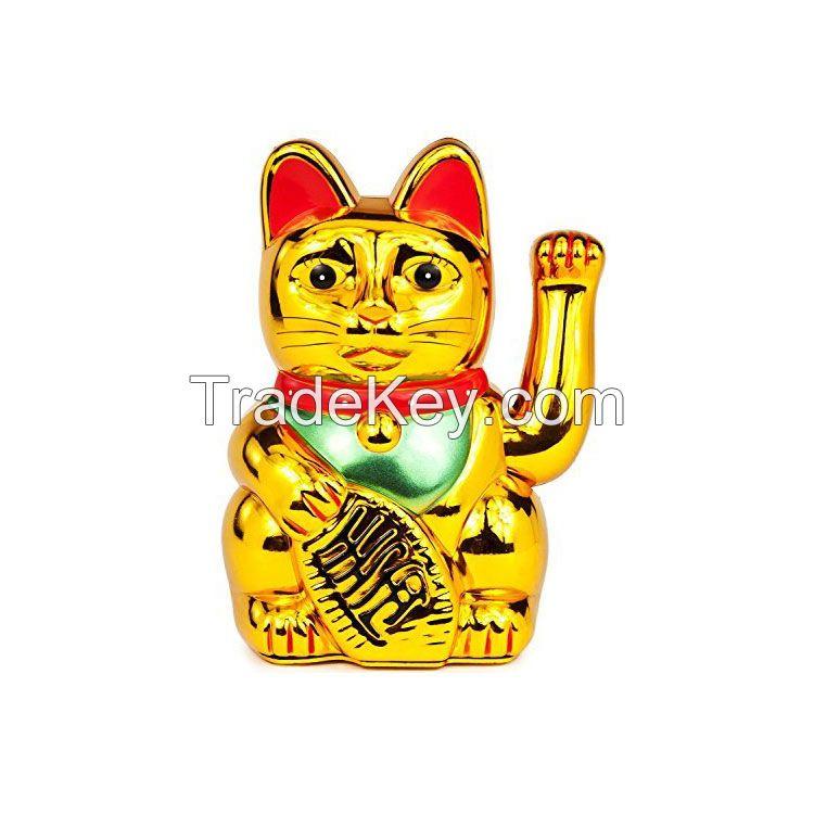 Plastic Battery Operated Maneki Neko Lucky Fortune Gold Cat Waving Arm