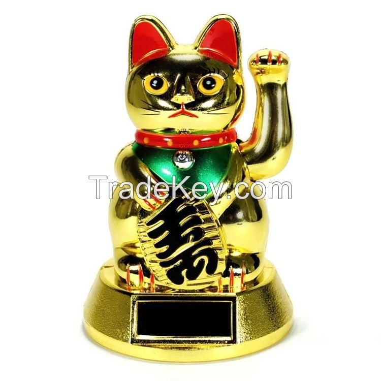 gold plating solar power lucky waving Lucky Waving Maneki Neko Fortune cat