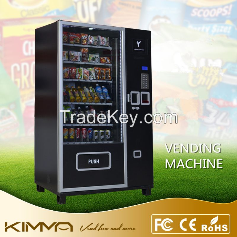 Automated LCD screen all in line cold drinks food snack vending machine with coin changer