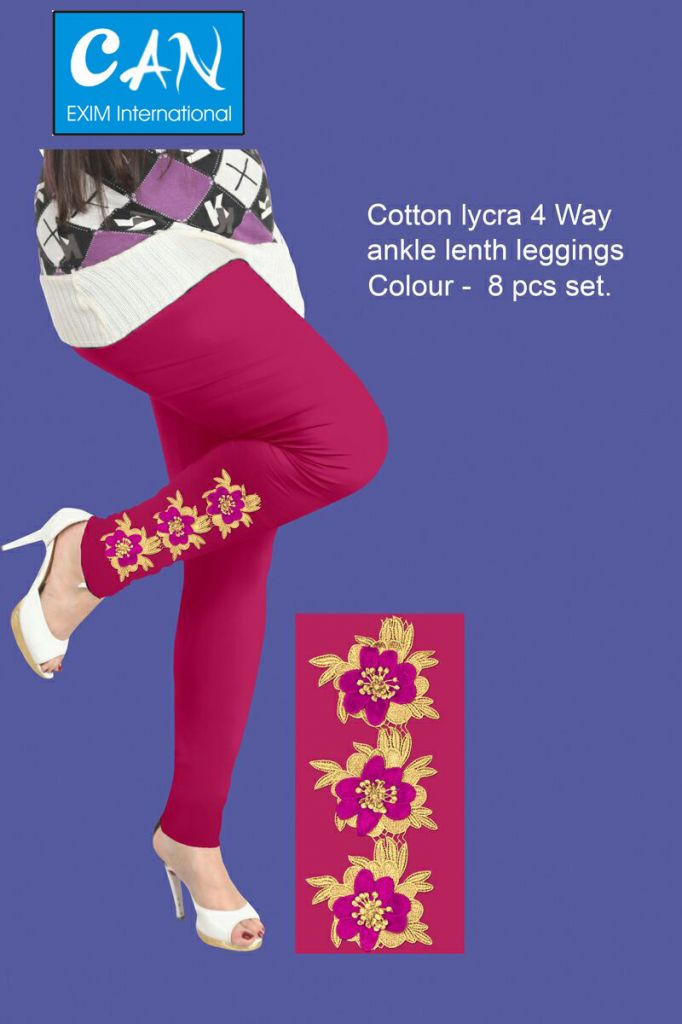 embroidery design made cotton lycra 4 way ankle length leggings  for women ladies and girls