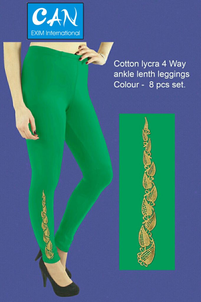 embroidery design made 4 way cotton ankle legth leggings for women ladies and girls