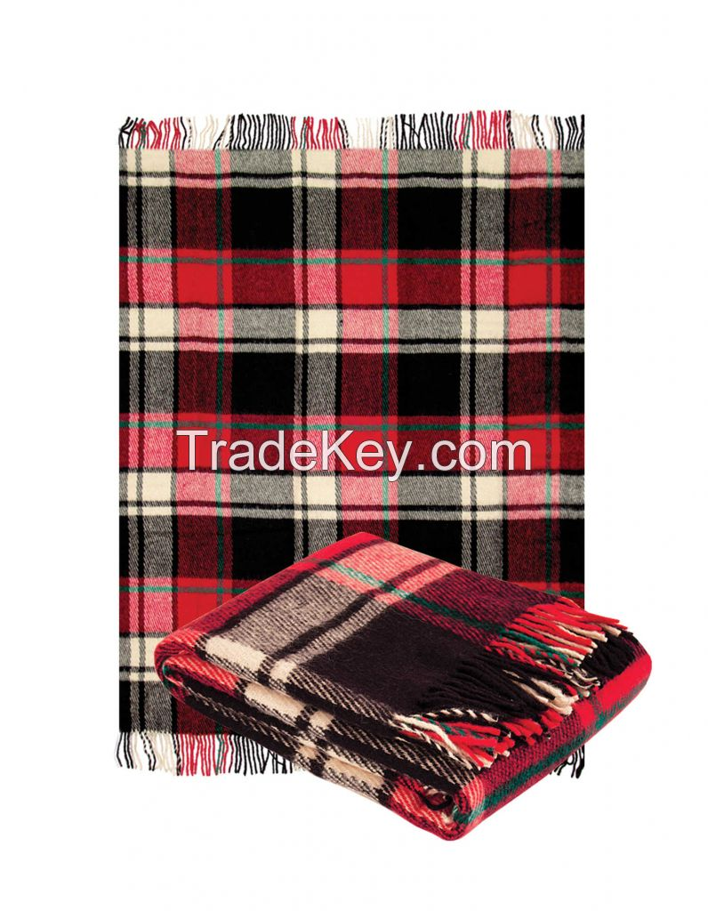 Throw blanket with fringe,  100% virgin crossbred wool,  size 55 x 79