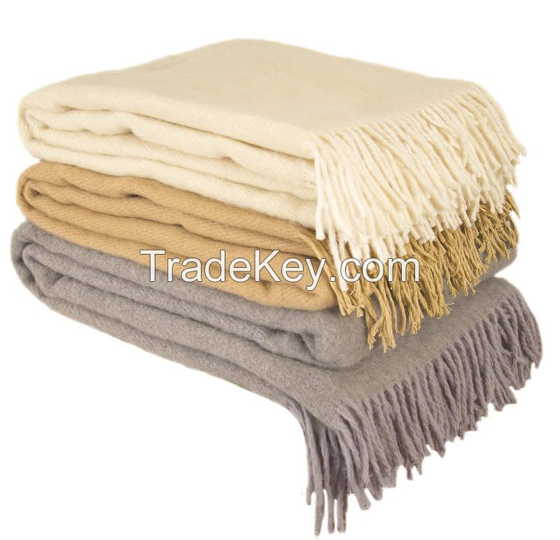 100% Merino Wool Throw Blanket with fringe  51x71� (Twin) Beige, Medium Weight, made in Europe By Yaroslav Mill.