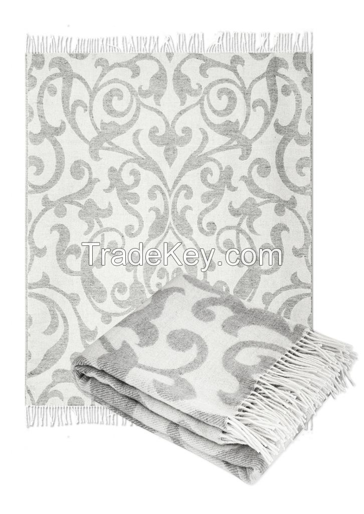 Wool  Throw Blanket with fringe  55x79  (Twin) in jacquard design, Medium Weight, made in Europe By Yaroslav Mill.