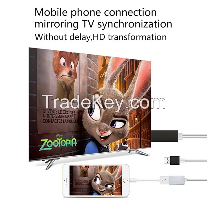 Lightning to HDMI Cable HDTV Wire Female Cable TV Stick Airplay Mirror