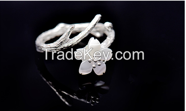 Sterling silver ring blossoms female natural flower opening ring