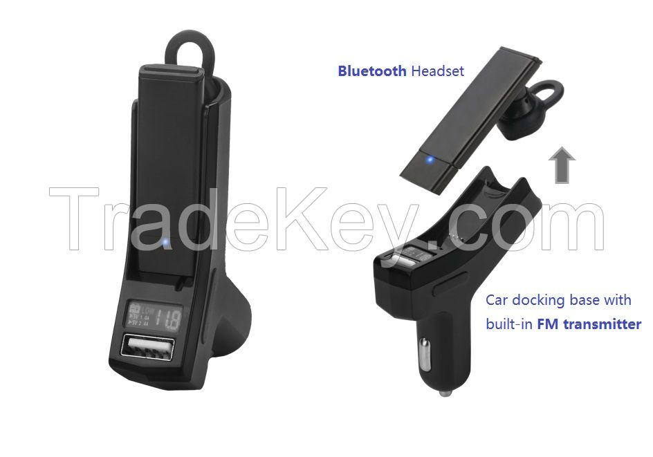car bluetooth headset with built-in FM transmitter