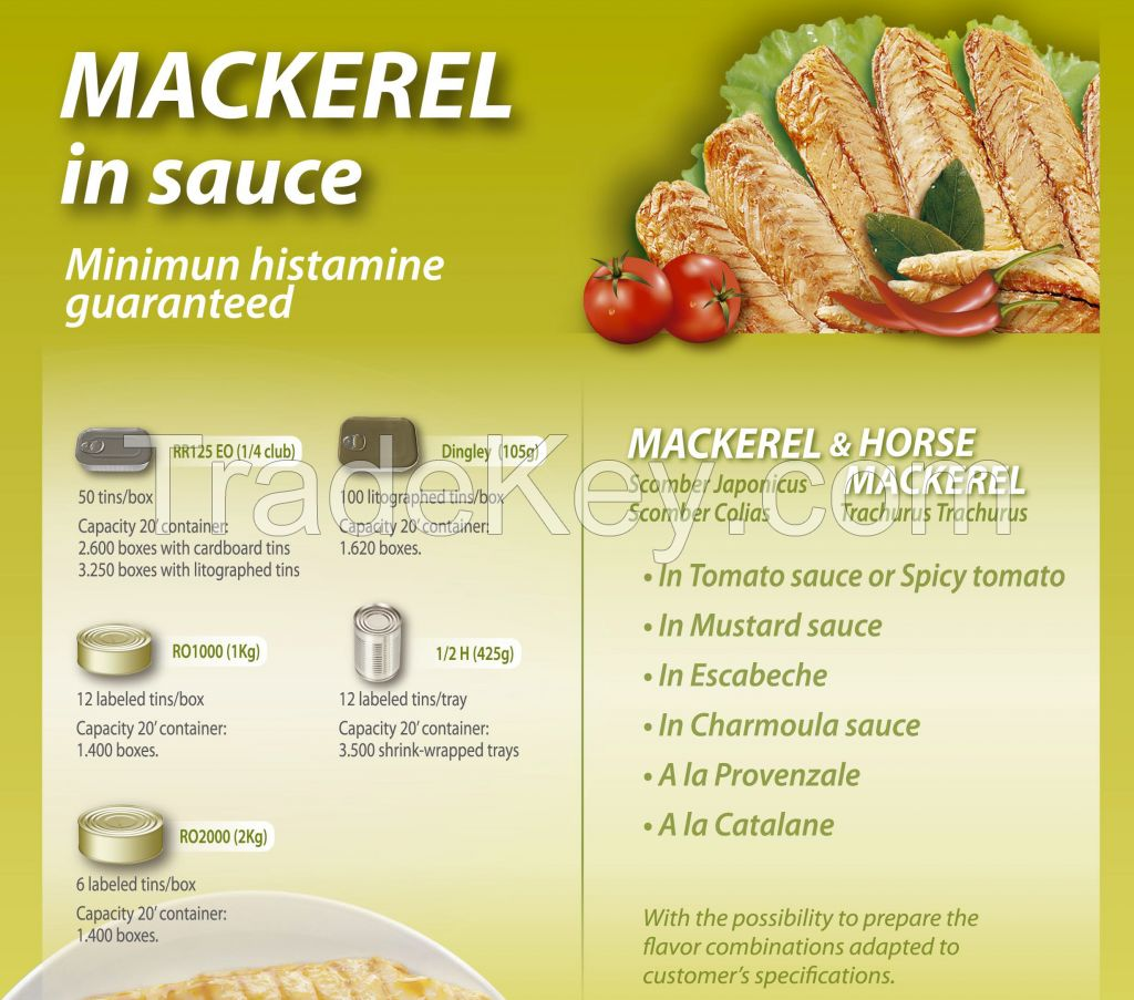 Mackerels in vegetable oil/tomato sauce