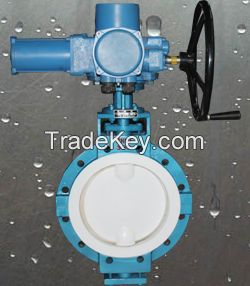 PFA/PTFE/FEP lined butterfly valve