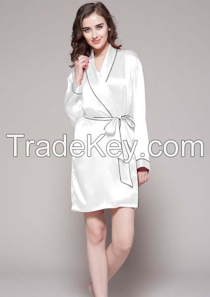 Women Silk Robe With Contrast Trim