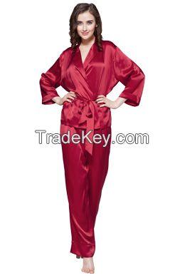 Long Silk Pajamas Set