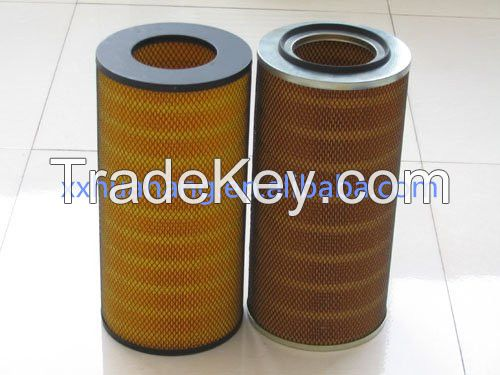 Washable pleated polyester cylinder dust collection air filter cartridge