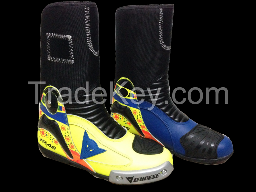 VR 46 MOTORBIKE MOTORCYCLE RACING MOTOGP LEATHER BOOTS / SHOES