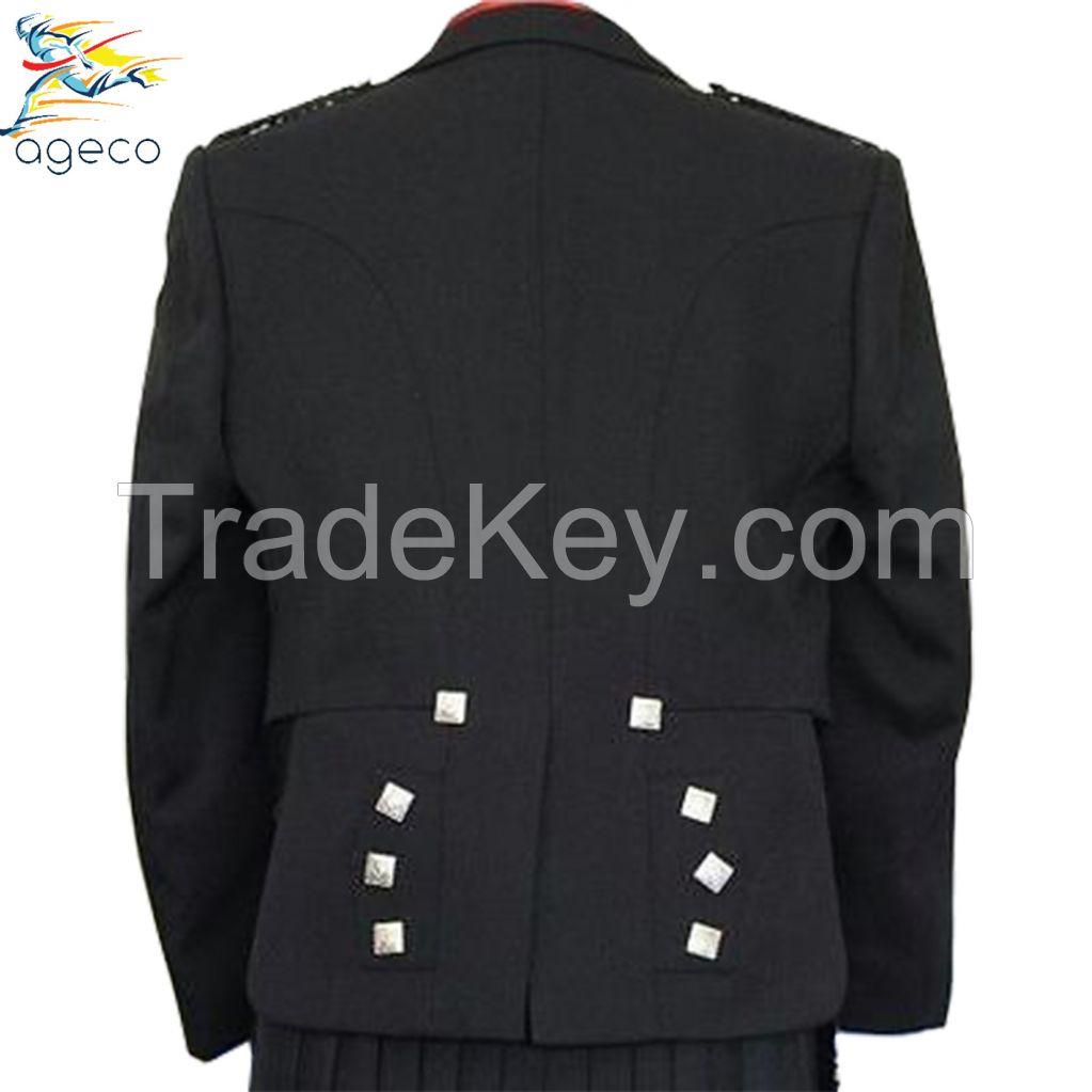 Scootish Kilts Prince Charlie Black Jacket With Waistcoat/Vest