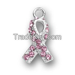 Pink Breast Cancer Ribbon Charm