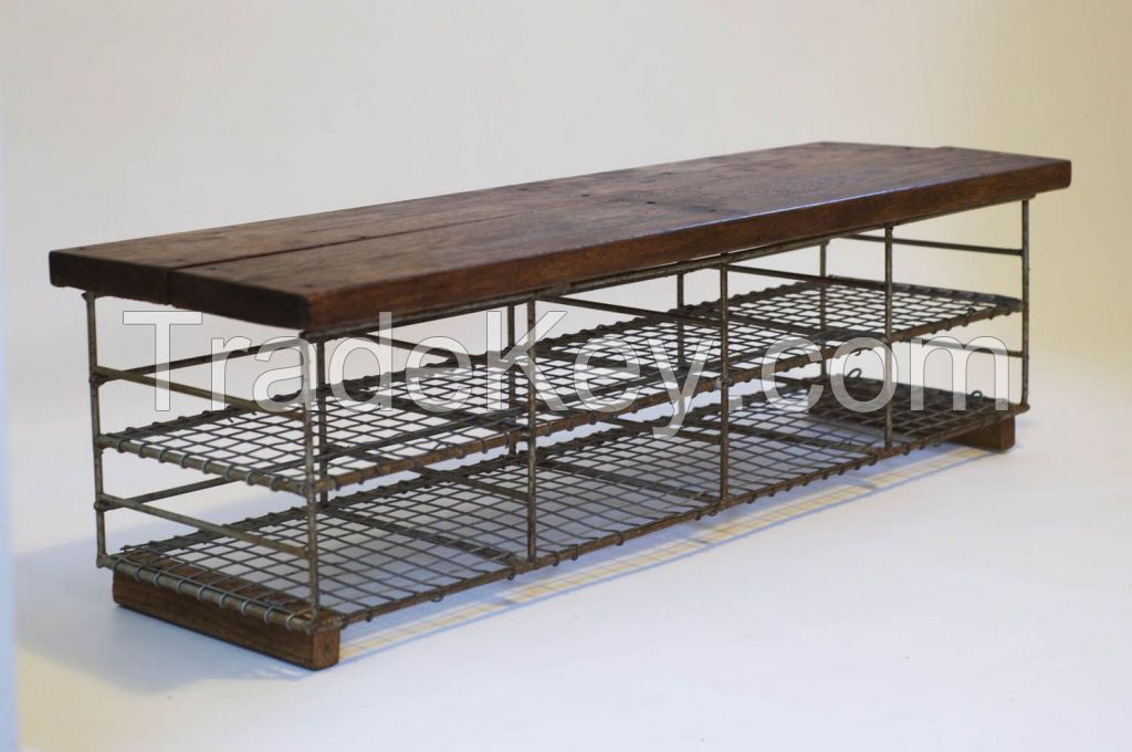 Antique Industrial Storage Bench