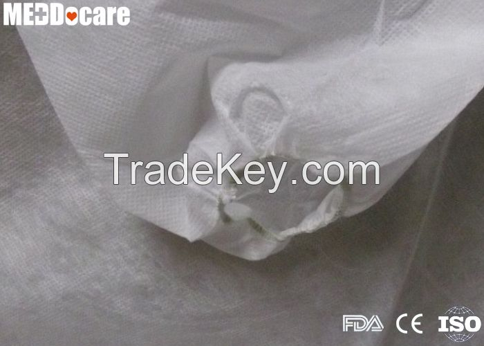 PP SMS PP+PE Non Woven Gown Disposable Knitted Collar Lab Coats with Press Button Velcro Pockets