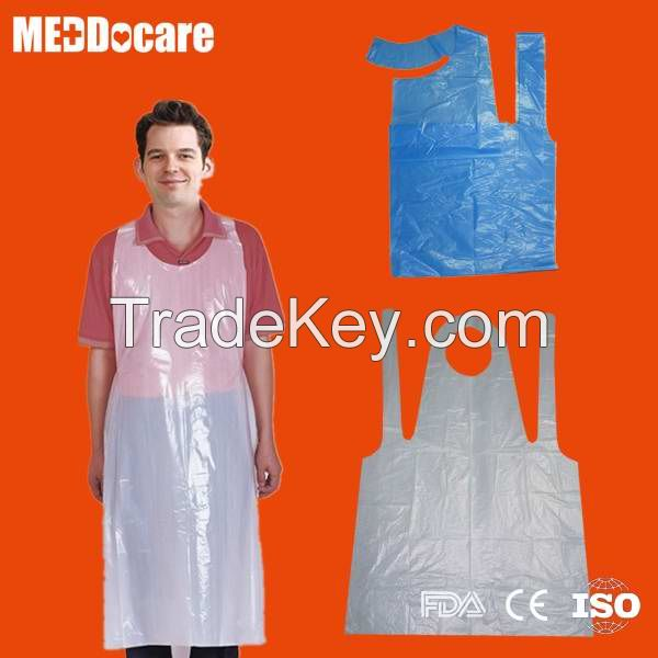 Homeuse Clean Beauty Salon Dailyuse Waterproof Poncho Disposable Plastic PE Aprons for Adults