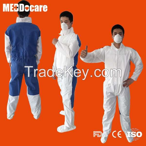 Disposable boiler suit protective nonwoven SMS PP white work coverall