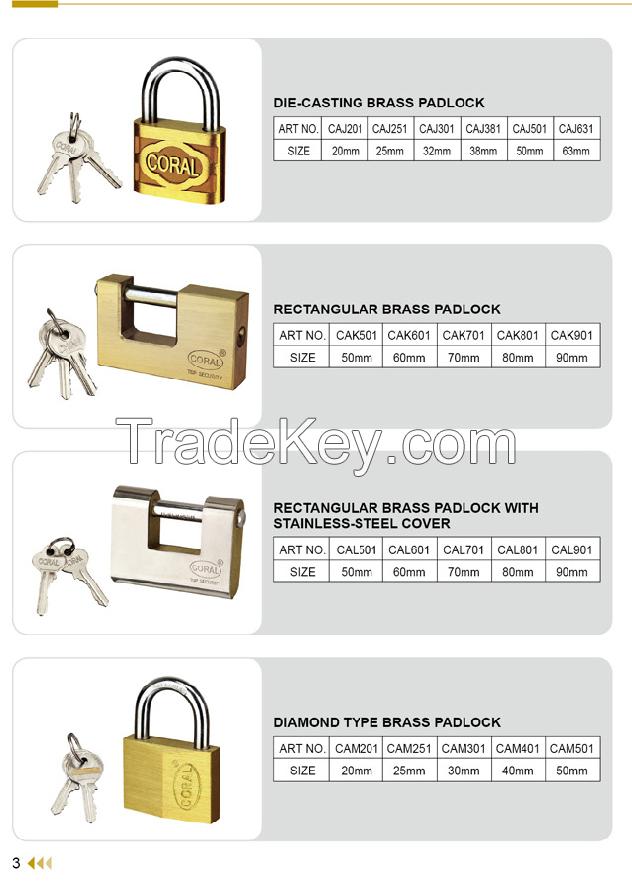Die Cast Brass Padlock , Solid Brass Padlock ,
