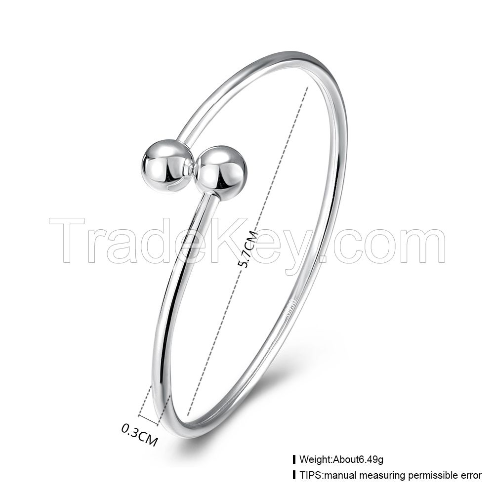 fashion round 925 sterling silver women simple bangle designs