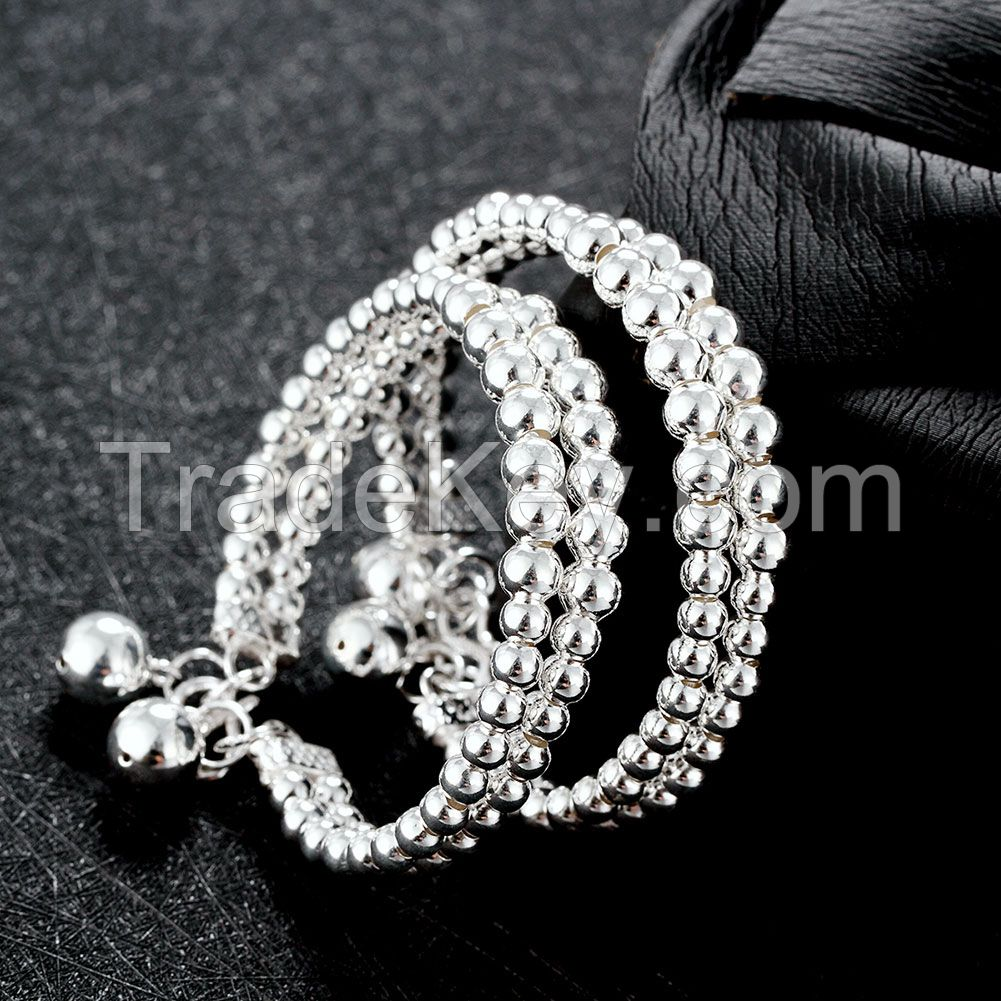 wholesale classic 990 sterling silver unisex men and women jewelry custom bead bracelets
