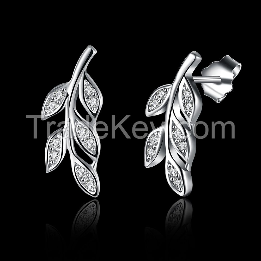 fashion nail type zircon stone leaf style women's 925 sterling silver earring