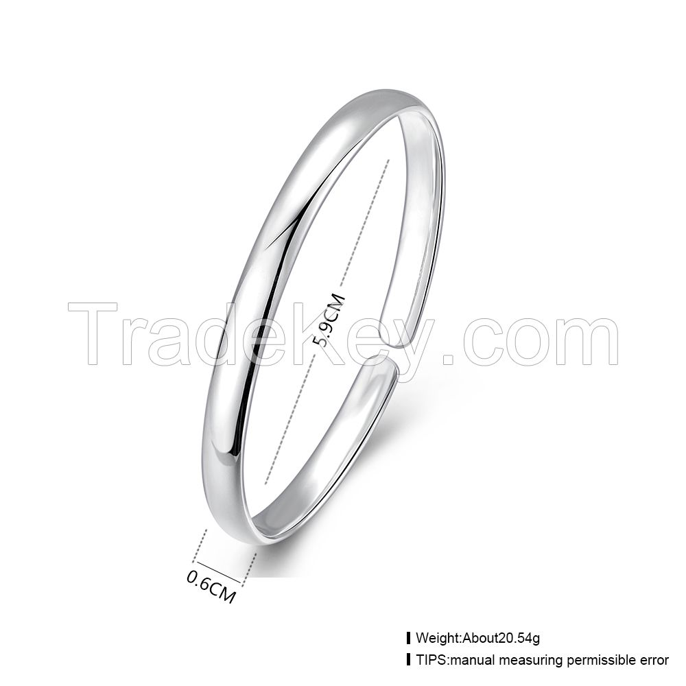 wholesale simple design 925 sterling silver women's cuff charm bangle