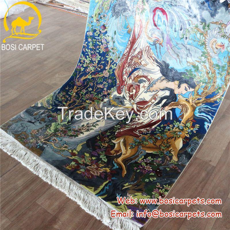 Hanging wall handmade silk tapestry rug