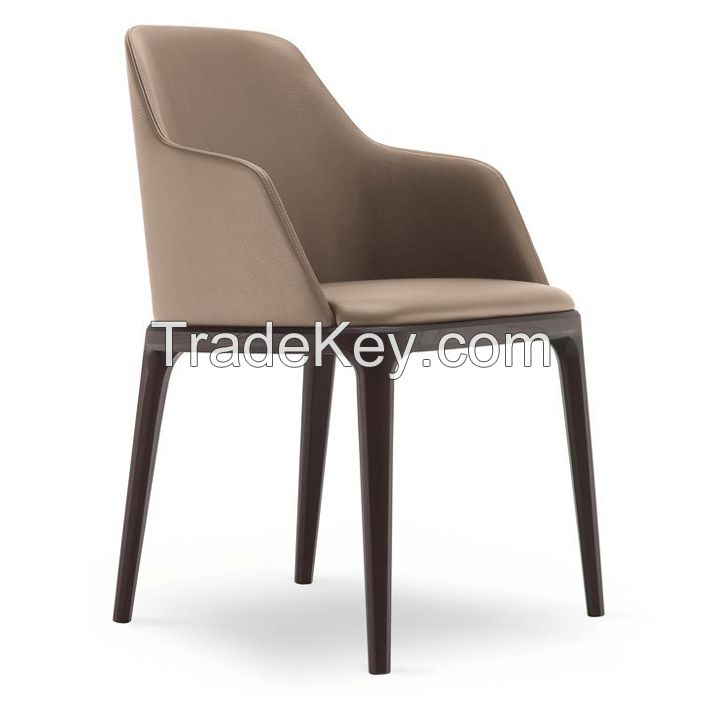 poliform same item dining chair real leather dining chair solid wood dining chair OEM factory