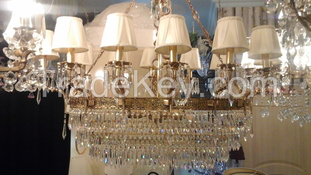 CRYSTAL AND BRASS CHANDELIERS