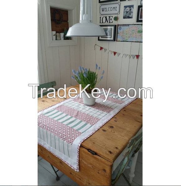 100% cotton pastoral green cheap tablecloth with high quality table cover polyester jacquard cloth