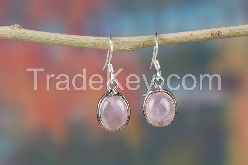 Wholesale 925 Sterling Silver Rose Quartz Gemstone Earring