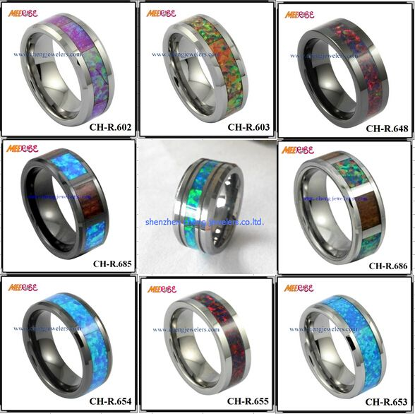 Shenzhen cheng jewelers wholesale rings with koa wood,carbon fiber,opal,IP gold plating