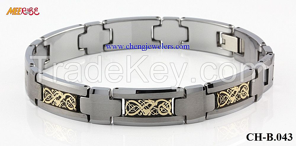 NEW design hot selling KOA wood jewelry WOOD BRACELET,opal bracelet,gold dragon,black carbon fiber inlay