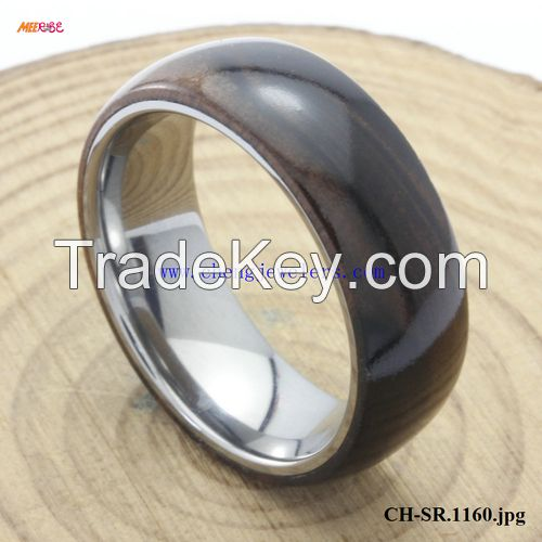 2017 HOT SELLING new product KOA WOOD INLAID TUNGSTEN RINGS