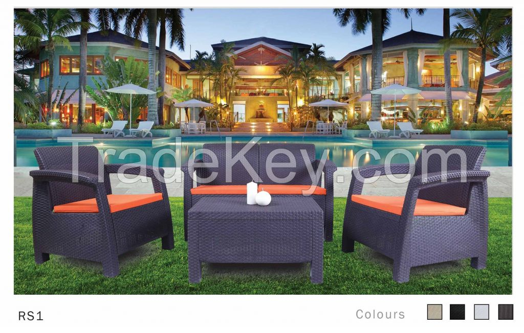 Plastic Rattan Set Sofa-Rs1