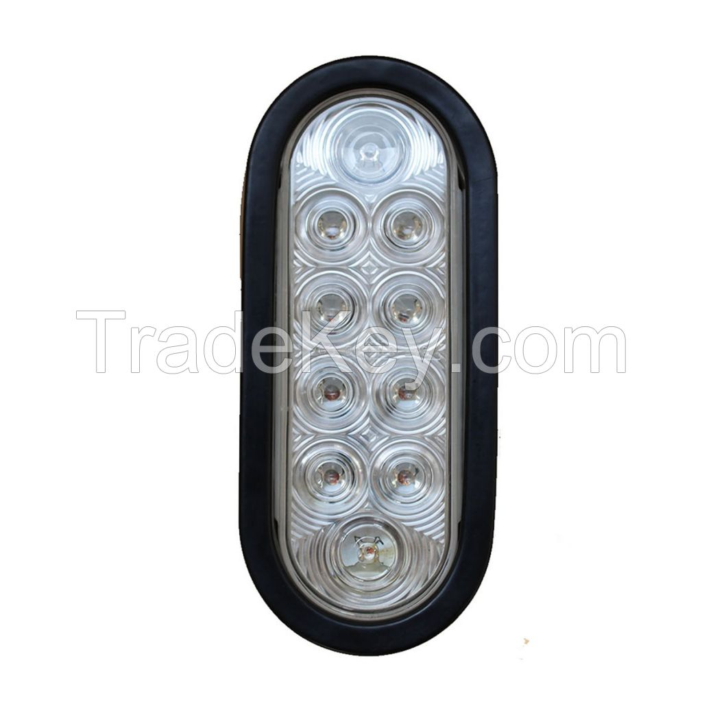 LED 6'' Sealed Oval Stop, Turn , Tail Light With Grommet and Plug -  Clear